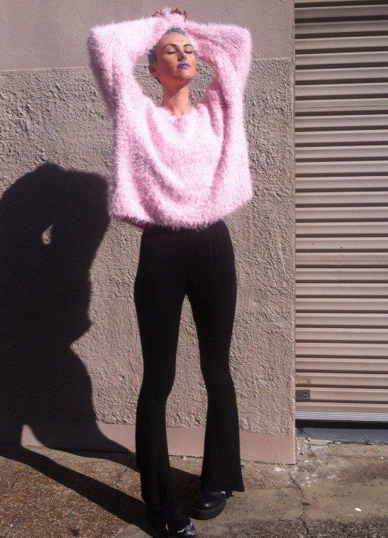 SOFTEST knitted sweater Fuzzy shaggy fluffy pink by HEAVYxMENTAL