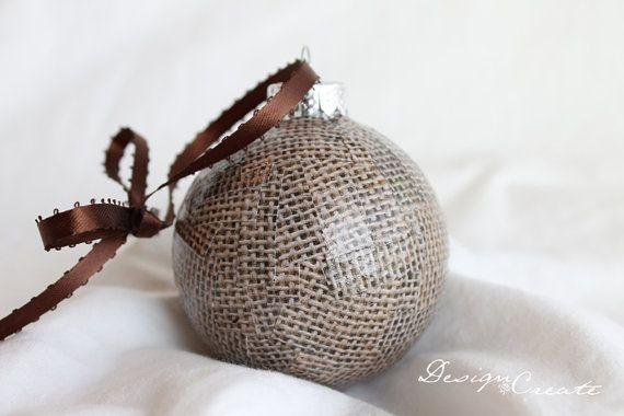 Handmade Christmas Ornament - Handcrafted Christmas Ball - Brown Burlap - Decoupage Ornaments, Unique