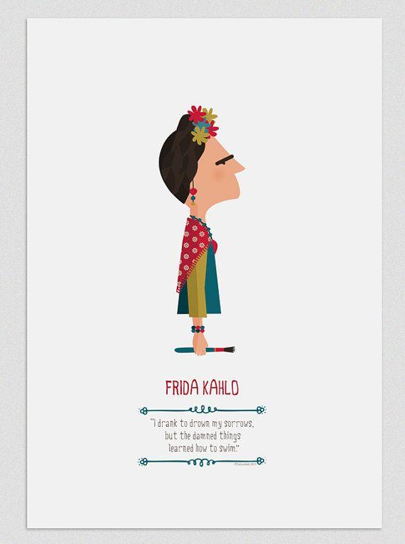 Ilustración. Frida Kahlo por Tutticonfetti en Etsy, $19.00