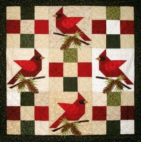 Wonderful cardinal wall quilt with easy block and simple applique.  Great idea- using the center 3 blocks as a table runner.