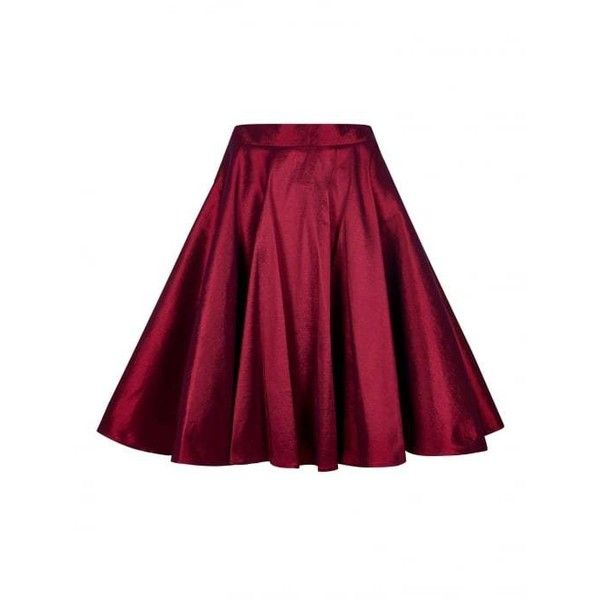 Collectif Vintage Bella Occasion Swing Skirt (£69) ❤ liked on Polyvore featuring skirts, vintage skirts, purple skirt, swing skirts, rockabilly skirt and collectif