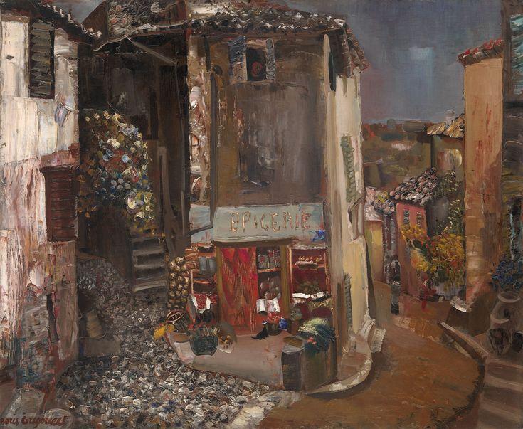 Boris Grigoriev(1886-1939) - Epicerie du Village,  Oil on canvas, 60 by 73 cm.