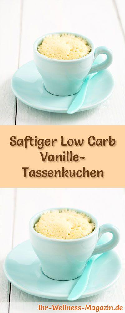 Rezept für einen schnellen, saftigen Low Carb Vanille-Tassenkuchen: Der kohlenhydratarme, kalorienreduzierte Kuchen wird ohne Zucker und Getreidemehl zubereitet ... #lowcarb #Kuchen #backen