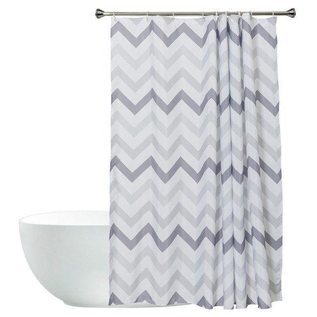 Striped White And Black Bathroom Shower Curtains Bath Supplies