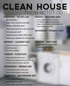 Heather says:  Here's a weekly chore schedule to help keep a clean house.  Home Ec 101 gets a lot of requests for help figuring out how to get and keep a h