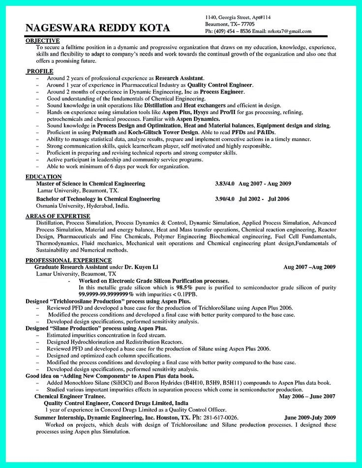 Chemical Engineering Resume Sample Chemical Engineer Resume