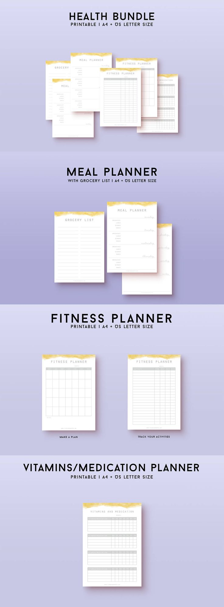 Get control of your health and fitness with this great printable bundle! This bundle includes a health tracker to track all health aspects of your life, as well as a meal planner with grocery list, a fitness tracker where you can plan and record your workouts and a vitamins/medicine planner. They all come in a minimalist design to leave space for your life, while giving you a nice framework.