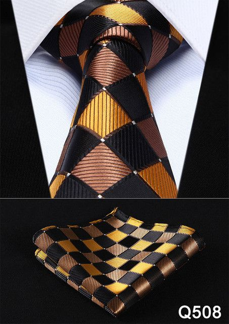 "Check 3.4"" Silk Fashion Mens Extra Long Tie Necktie Handkerchief Set #Q5 Pocket Square Classic Party Wedding"