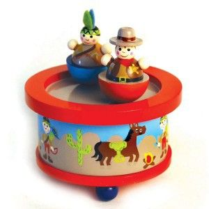 Cowboy and Indian Music Box - This fantastic brightly coloured Cowboy & Indian's music box will look adorable in a cowboy and indian themed bedroom & makes a perfect New Baby or Christening Gift. It plays 'It's a small world' while the ships move round.#giftsforboys #woodentoys #woodengifts #gifts #xmasgifts #musicbox #music #cowboys #indians #1stxmas #christening #