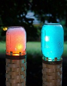 Mason Jar Lights - Mason Jar Techno Tiki Torch - DIY Ideas with Mason Jars for Outdoor, Kitchen, Bathroom, Bedroom and Home, Wedding. How to Make Hanging Lanterns, Rustic Chandeliers and Pendants, Solar Lights for Outside  http://diyjoy.com/diy-mason-jar-lights-lanterns