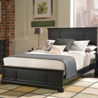 bedroom black hardwood queen bed frame with tall headboard and white bedding set plus grey