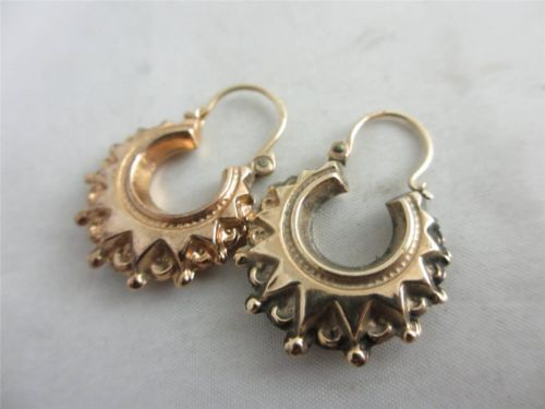 Antique Victorian Style 9ct Rose Gold Gypsy Sleeper Hoop Earrings 2 5 X 1 6 Cm Pinterest And Jewelry