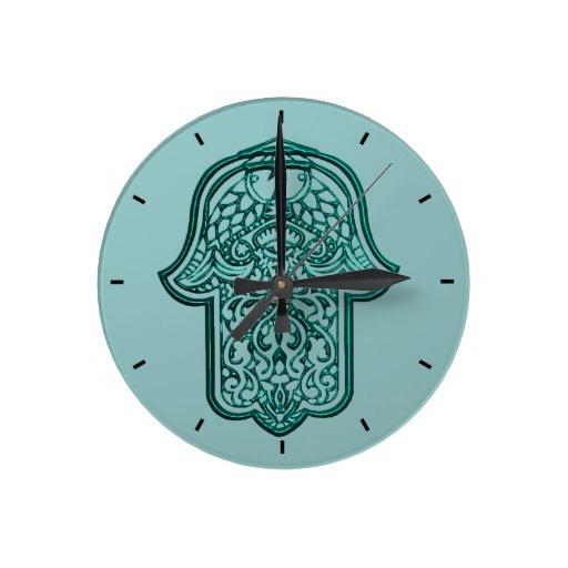 Henna Hand Of Hamsa Teal Round Clock Teal Wall Clocks