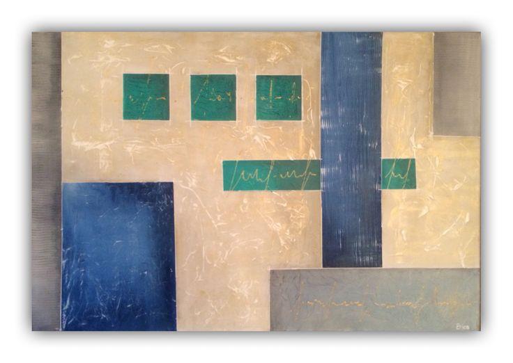 Kubistisch schilderij 120x80cm, grof gestructureerd door Erica Willemsen