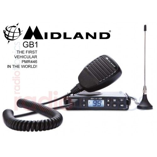 Midland GB1 is the world's FIRST PMR446 mobile in-car radio. Supplied with everything you need to use the radio including microphone, magnetic mag mount antenna, bracket/screws and power supply cable. Acts, looks and behaves almost like a CB radio, but working on the licence free PMR446 channels so can be used with all PMR446 compatible walkie-talkie radios.