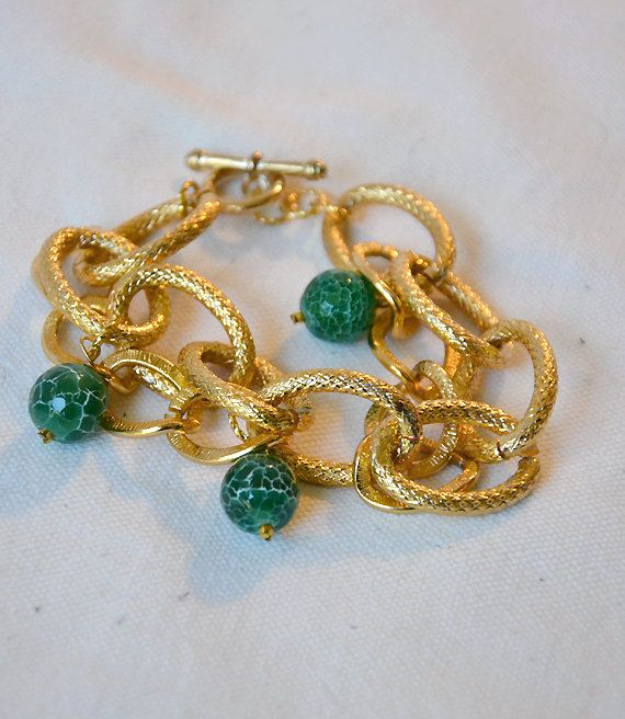 SOLD Gold plated double chunky chain bracelet, dragon green agate gemstone beads, gold plated toggle clasp