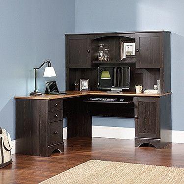 Black Antiqued L-shaped Corner Desk with Included Hutch