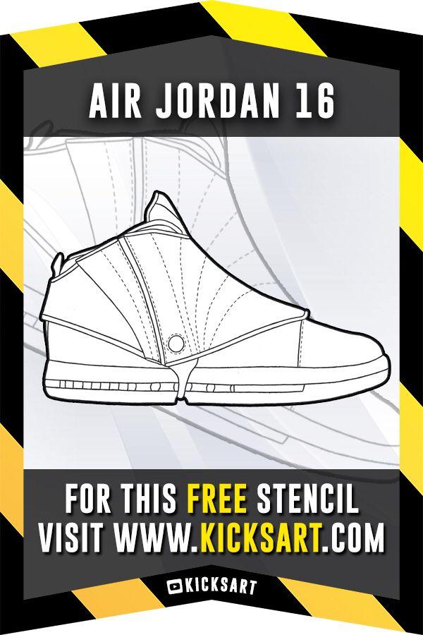 Air Jordan 16 Stencil Jordan Coloring Book Air Jordans Free Stencils