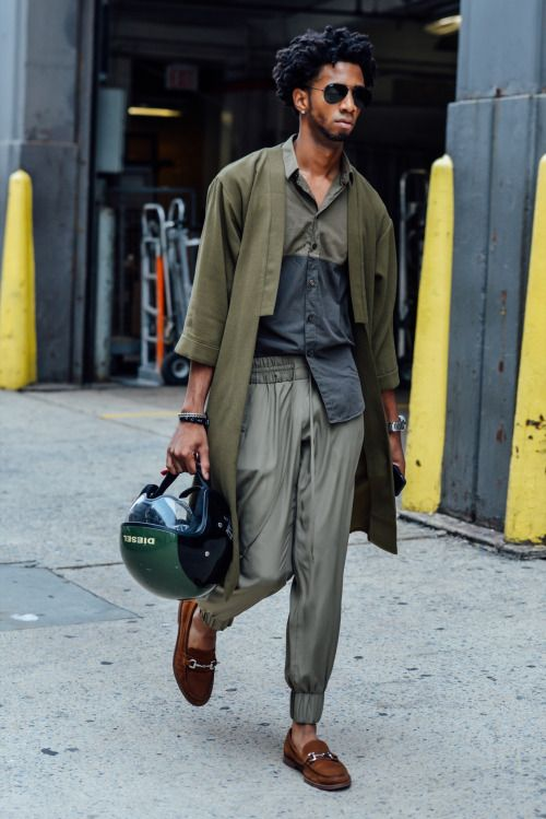 muted olive tones, menswear street style inspiration