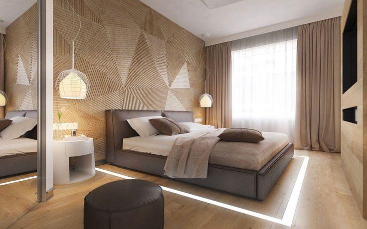 Parete in legno per la camera da letto 24