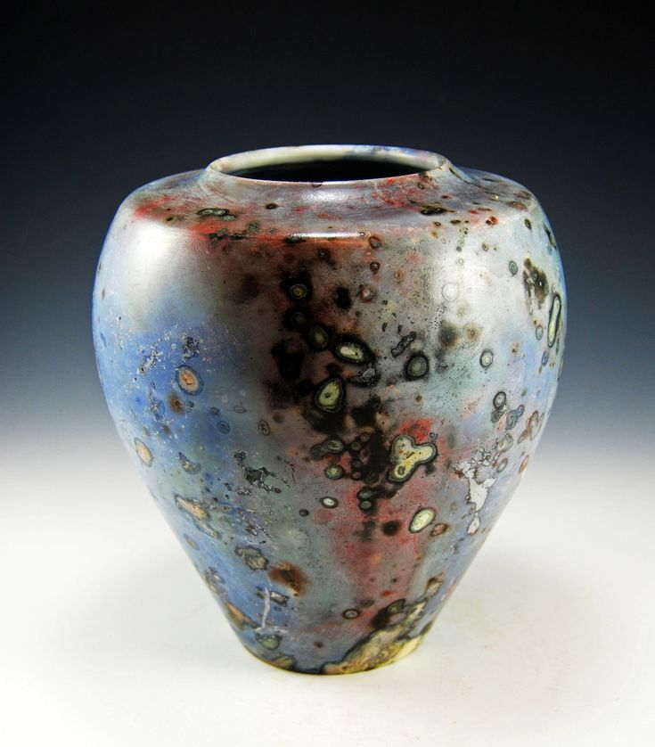 "Wide-top Vase, with cobalt chloride and potassium dichromate applied, saggar-fired, approx 14"" tall"