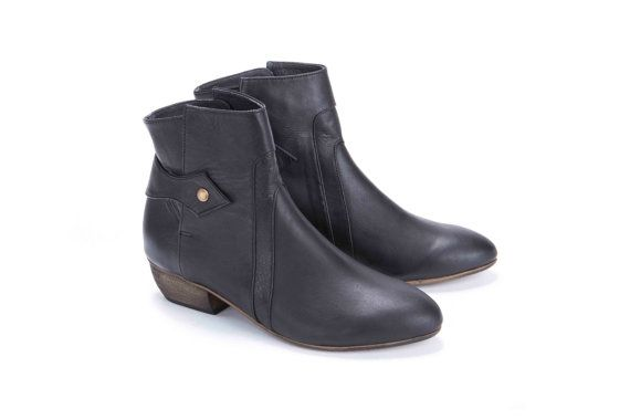 Low Heel Black Ankle Boots - Yu Boots