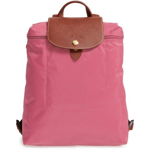 Women's Longchamp 'Le Pliage' Backpack ($125) ❤ liked on Polyvore featuring bags, backpacks, peony, water resistant bag, flap backpack, pink backpack, longchamp backpack and longchamp bag