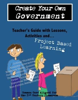 This is a complete project based learning unit for middle schoolers to work together to create their own government. Eighth graders -- or any middle and even high schoolers -- can learn about the various forms of government as they research and discover how they want to be ruled!