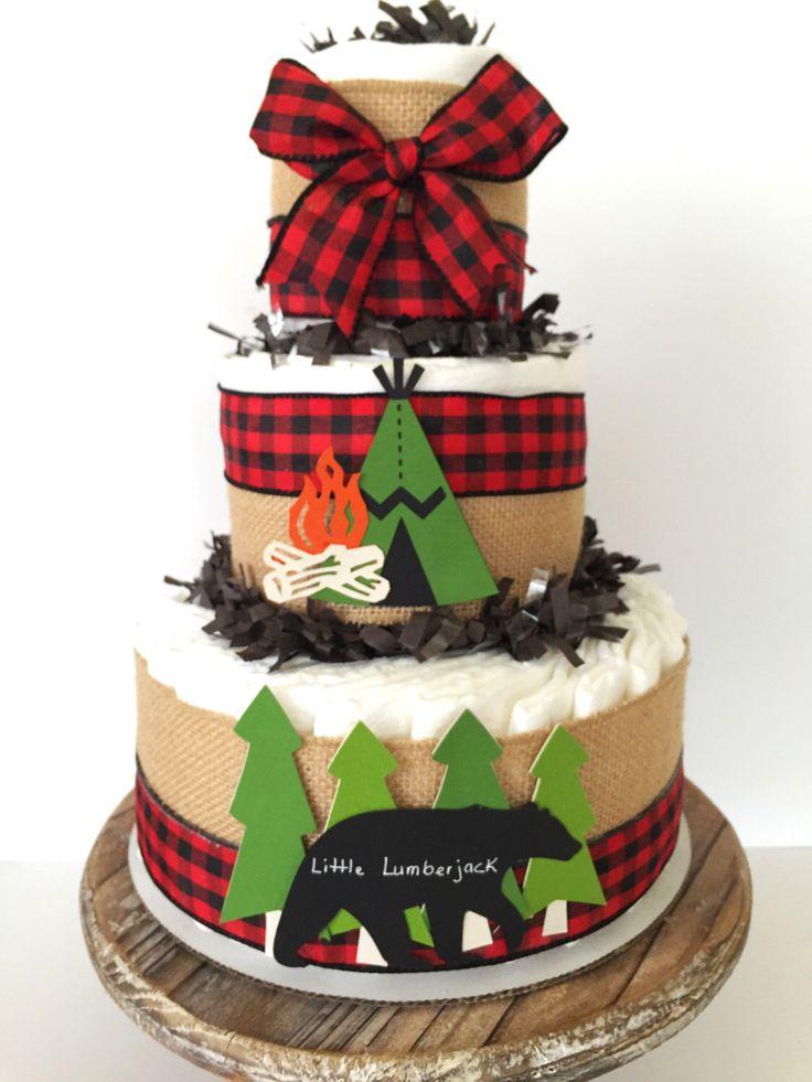 Little Lumberjack Diaper Cake, Cabin Fever Baby Shower ...