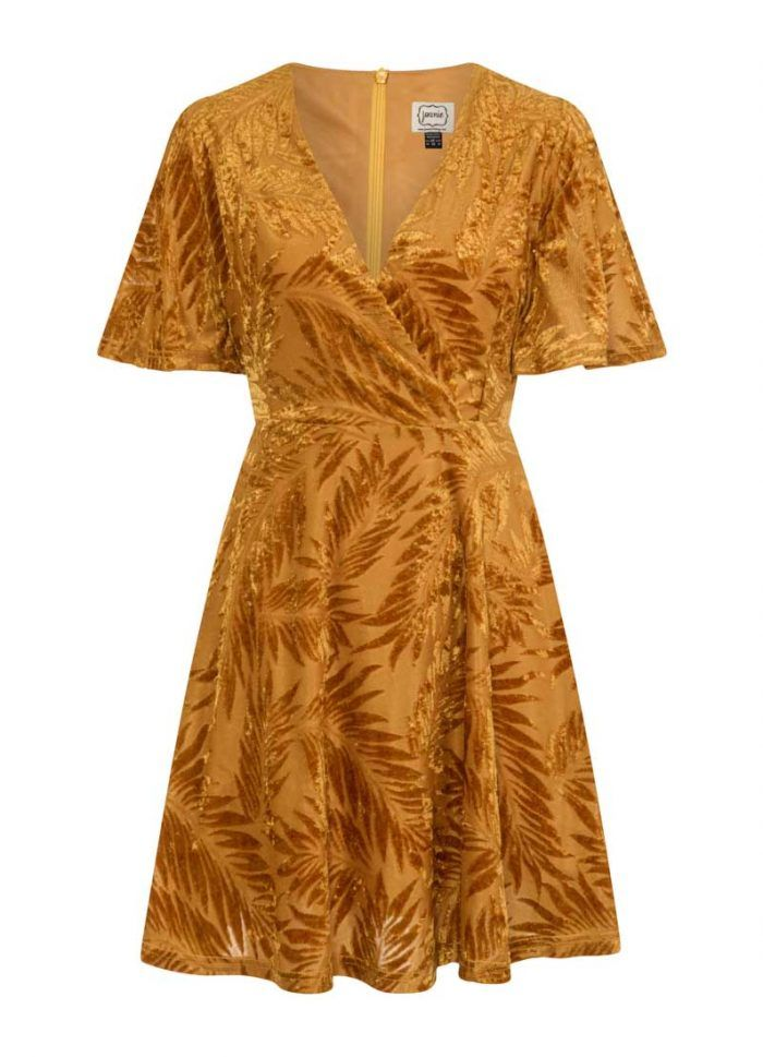 90f9d85fe4021 Yulia Velvet Devoré Palm Dress - Mustard in 2019 | Birthday Board ...