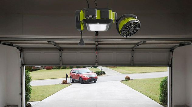The Ryobi Ultra Quiet Garage Opener has a powerful 2 HP motor will quietly open and close large doors, It features a lithium-ion battery backup, motion-detecting overhead LED light, and you can control it with your smartphone. But, what sets it apart from other garage door openers are the accessories, including a retractable extension cord, a parking assistant module, fan and speaker. It is available at The Home Depot.