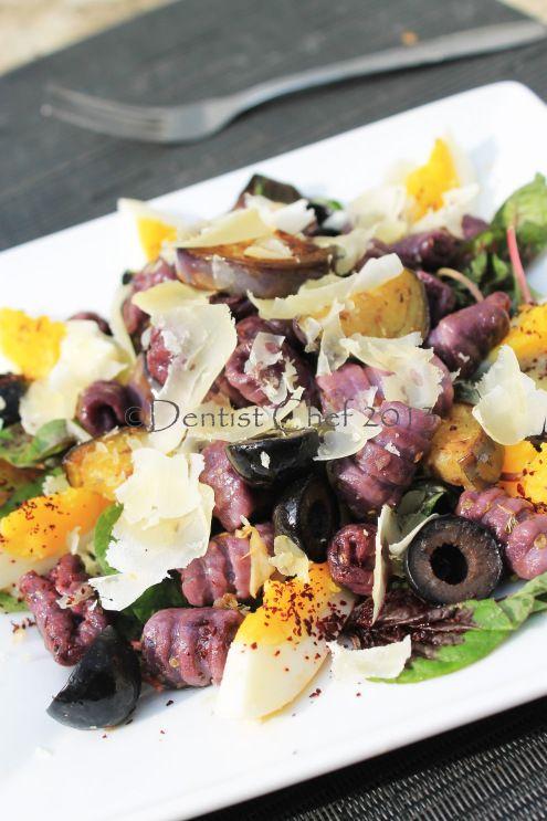 Homemade Sweet Potato Gnocchi Pasta salad with Amaranth, Roasted Aubergine and Kalamata Olives | DENTIST CHEF