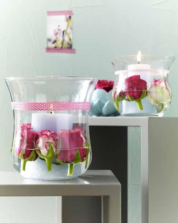 Rosen mit Kerzen im Glas vielleicht auch mal mit anderen Blumen?