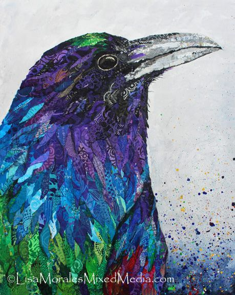 Lisa Morales - Mixed Media Art with a Pinch of Wonderful  The Raven's Truth - 16 X 20 - Paper collage on a paint splattered background. Available in my Etsy shop - https://www.etsy.com/listing/239550569/the-ravens-truth-mixed-media-collage?ref=shop_home_active_1