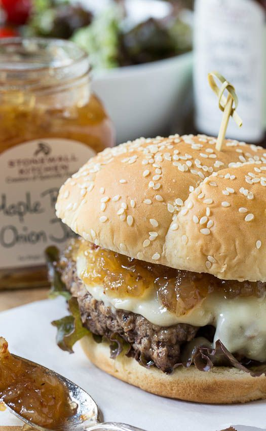 Burgers with Bacon Maple Onion Jam (aka the best burger topping ever!)