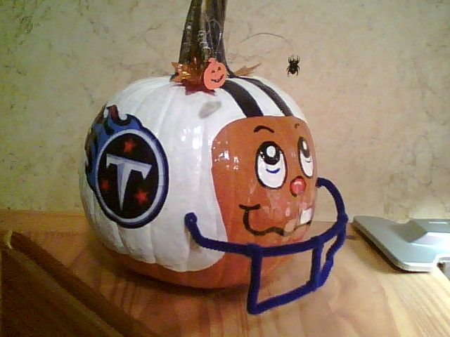 football player pumpkin decorating no carve