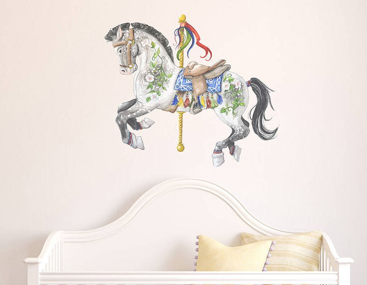 Grey Carousel Horse Wall Sticker | Contemporary Wall Stickers