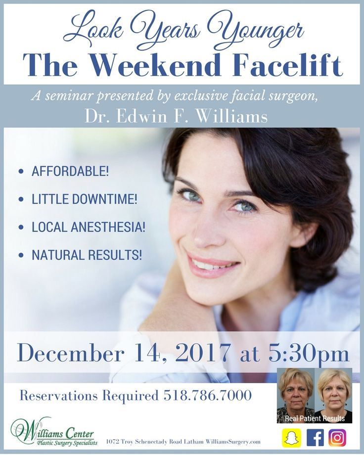 The Weekend Facelift procedure is simple, quick and can easily fit into your lifestyle. This procedure can be done in an hour with minimal downtime and it's an affordable solution to traditional lifting procedures!☎️ 518-786-7000 / 518-786-7004 📍 1072 Troy Schenectady Road Latham, NY 📍 521 Park Avenue New York, NY 📍Royal Palms Building Suite #205 9053 Estate Thomas St. Thomas, U.S.V.I. ☎️ 340-779-7002