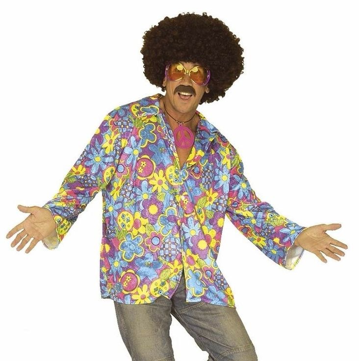 Hippie verkleed overhemd paars/blauw voor heren. Het paarse shirt heeft een all-over print van blauwe en gele bloemen, iets uitlopende mouwen en een knoopsluiting aan de voorzijde. Materiaal: 100% polyester.