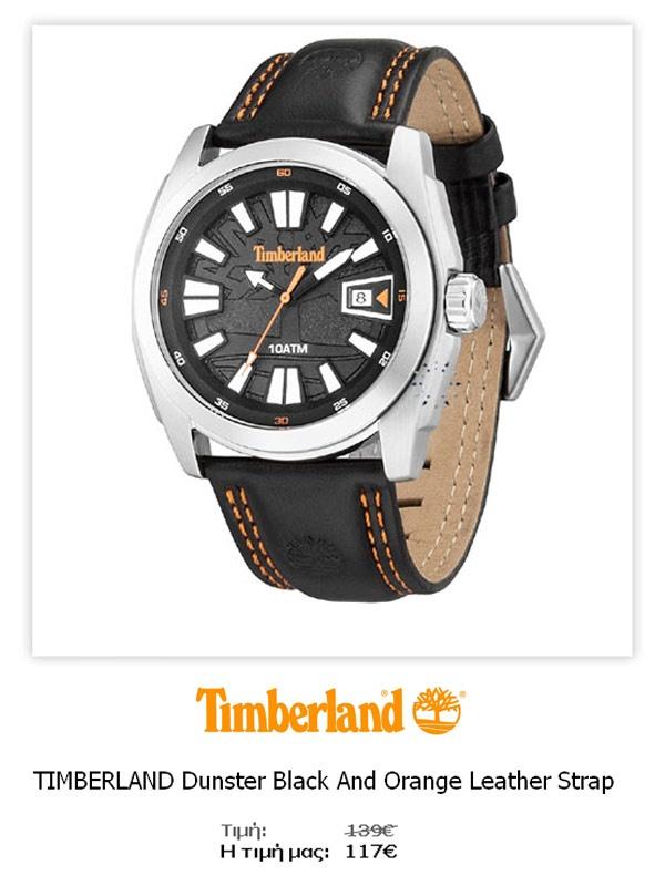 TIMBERLAND Dunster Black And Orange Leather Strap  13853JS-02  Δείτε όλες τις λεπτομέρειες του ρολογιού εδώ   http://www.oroloi.gr/product_info.php?products_id=31664