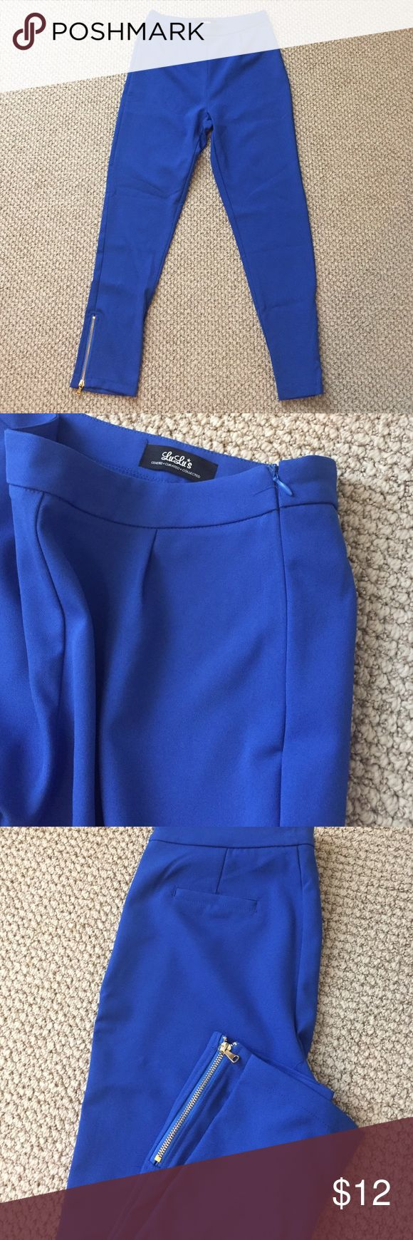 Lulu's women's slacks Dressier colbalt blue pants. 80% polyester. 18% rayon. 2% spandex. Great pant. Never worn. Too big for me. I'm a 0-2 with no rear end for reference Lulu's Pants Ankle & Cropped