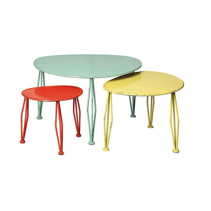 Distressed Pastel Metal Tables   Not Necessarily These Colors, But The Idea  Of Individual Tables To Create One Coffee Table And Then Can Be Used As End  ...
