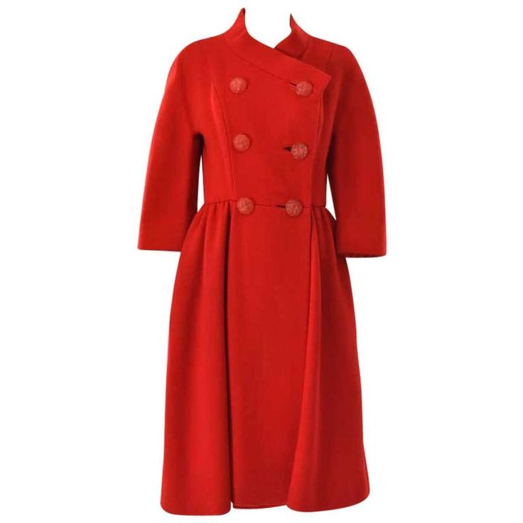 1950s Neiman Marcus Red Pea Coat  | From a collection of rare vintage coats and outerwear at https://www.1stdibs.com/fashion/clothing/coats-outerwear/