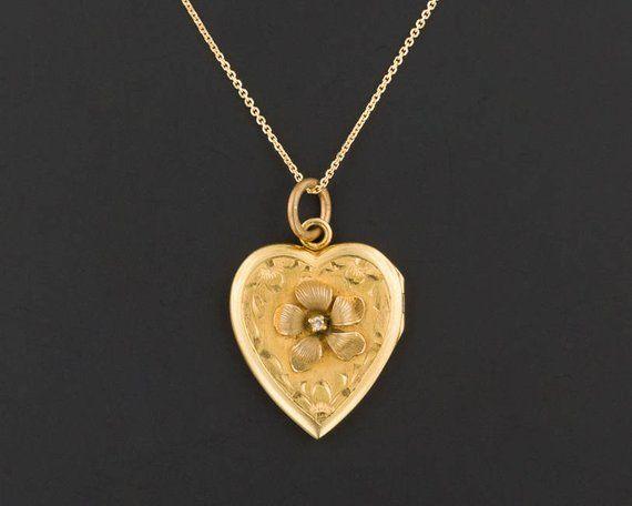 Vintage 10k Gold Flower Locket 10k Gold Heart Locket 10k Gold Locket With Optional 14k Chain Vintage Locket Gold Heart Locket Heart Locket Jewelry Post