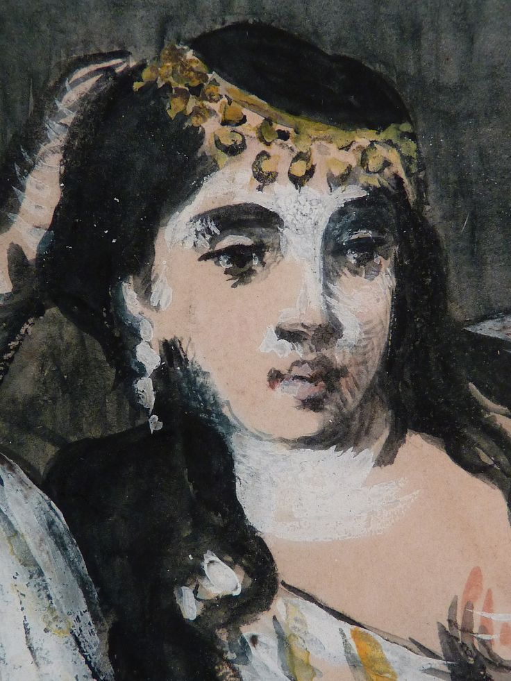 MANET Edouard - Odalisque (drawing, dessin, disegno-Louvre RF6929) - Detail 18