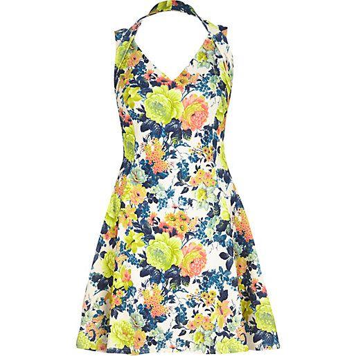 Yellow floral print strappy skater dress #riverisland