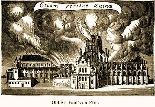 Old St. Paul's on Fire - Ths Day in History: Sep 2, 1666: Great Fire of London begins