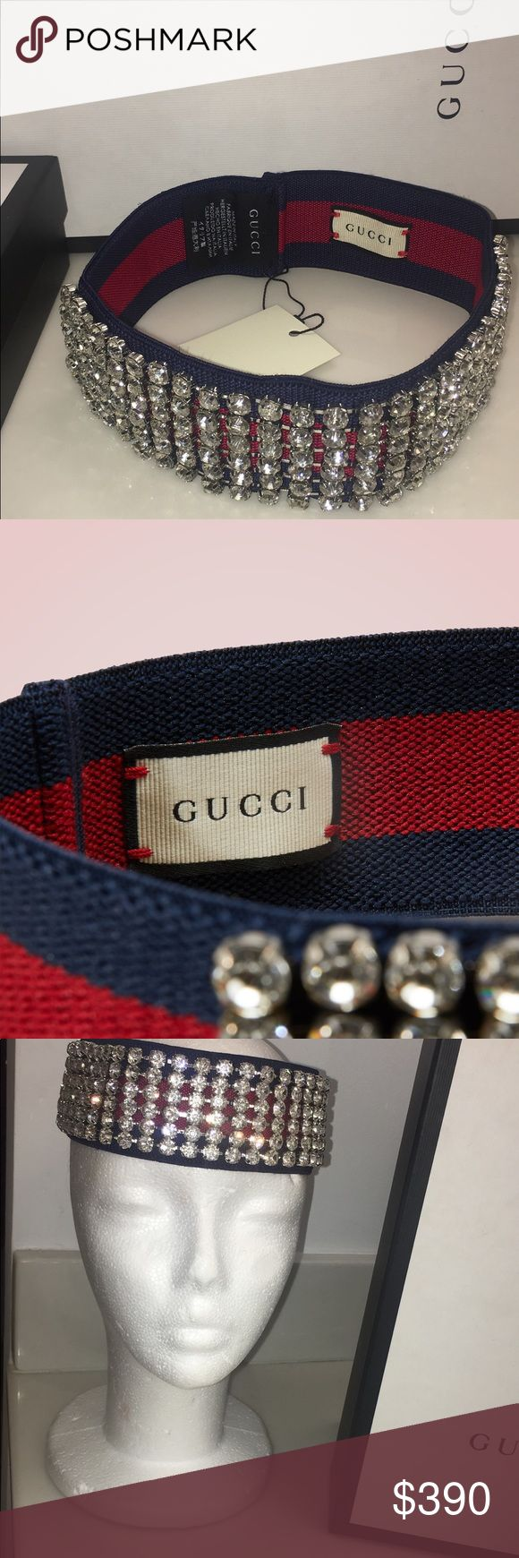 Gucci crystal web headband WHY WE LOVE IT At the heart of the Gucci collection is the red and blue web band displayed here on the Web headband with crystals. This stretchy piece is the ultimate preppy accessory and the hallmark of the luxury Italian fashion house's chic, classic style. The sparkling crystals sewn onto its front evoke the outfits of 1990s pop stars. Wear this piece to add a feminine touch to a short boyish haircut or to free your neck from long, sleek hair.  Comes new with…