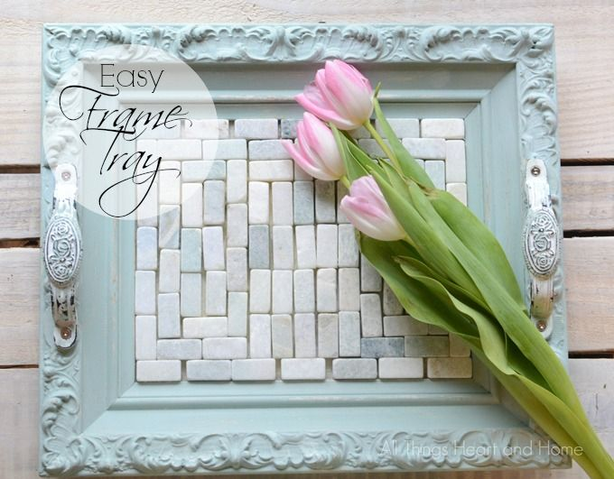This easy Frame Tray is made from a thrifted tray painted with Americana Decor Chalky Finish and some of my favorite tiles! It's a perfect gift or make one for yourself! #decoartprojects