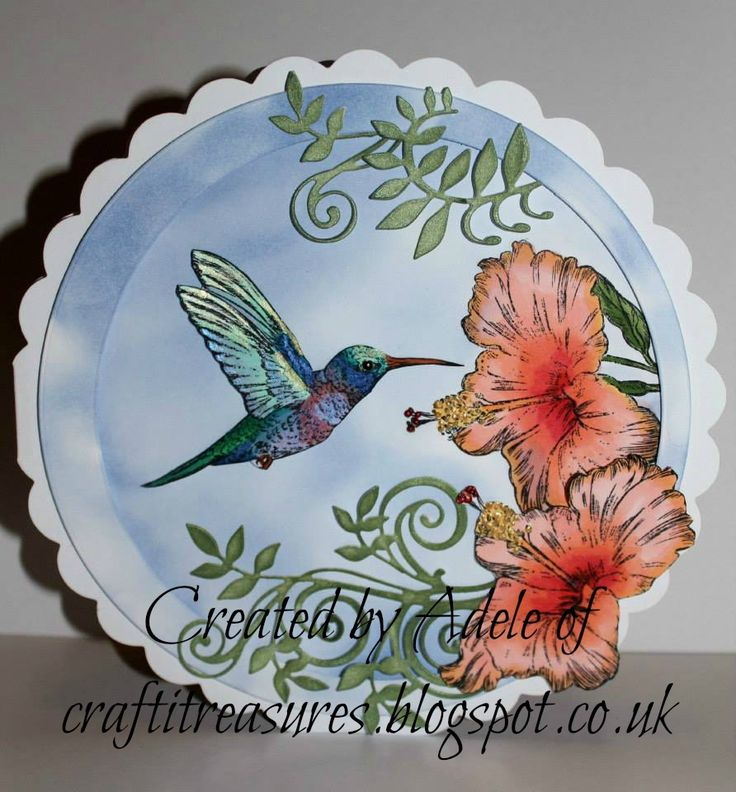 Sheena Douglass Hummingbird stamp and Tonic Regal Fern die set.
